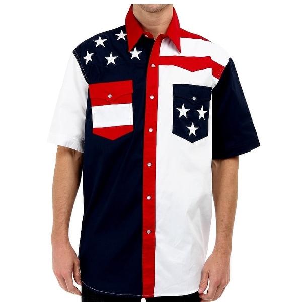 5fc44aca Roper Western Shirt Mens S/S USA Embroidery Blue