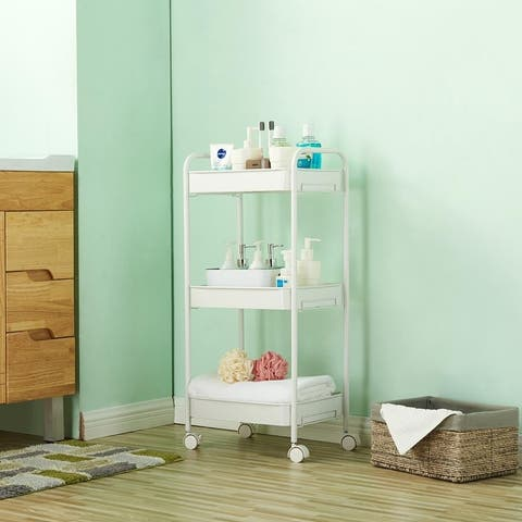 3-Tier Mobile Utility Cart Kitchen Cart with Caster Wheels