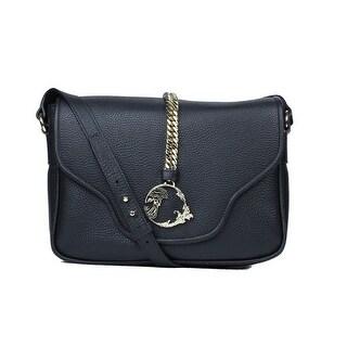 Versace Collection Solid Black Pebbled Gold Chain Logo Shoulder Bag