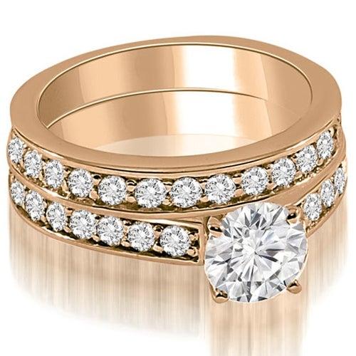 2.15 cttw. 14K Rose Gold Round Cut Diamond Bridal Set