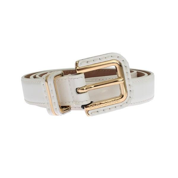 Dolce & Gabbana White leather belt - 75-cm-30-inches