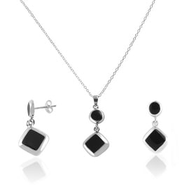 GIG Jewels Sterling Silver Black Onyx Resin Gemstones Necklace and Matching Earrings Jewelry Set