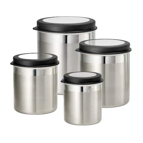 4 Pc Stainless Steel Canister Set - Gray Plastic Lids
