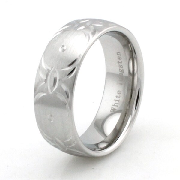 Hand Carved White Tungsten Ring w/ Tribal Wings Pattern