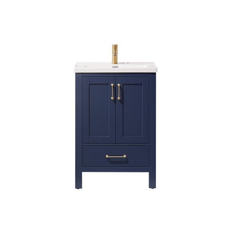 Gela 24-inch Royal Blue Vanity White Ceramic Basin Top Without Mirror