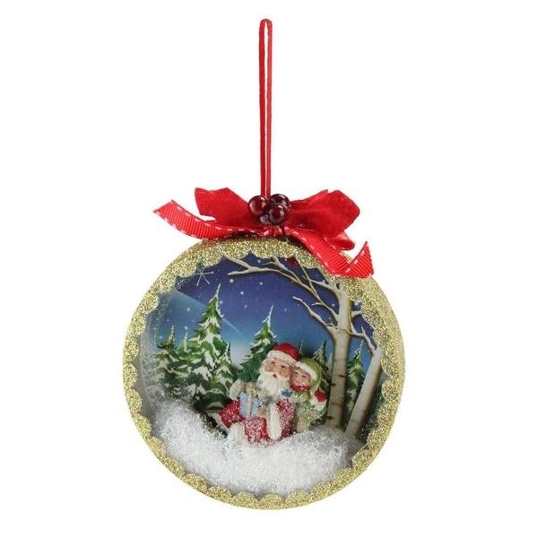 "5"" Santa Claus Classics Sled Winter Scene Shadow Box Christmas Tree Ornament"
