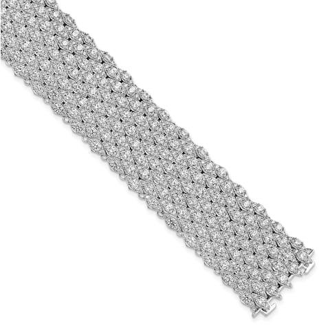Sterling Silver Cubic Zirconia Mesh 6.75 Inch Bracelet by Versil