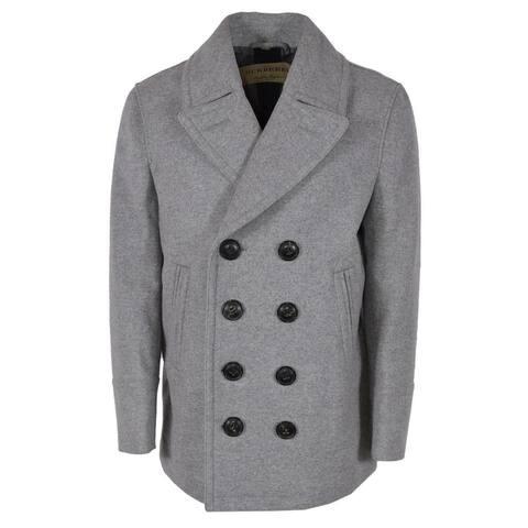 Burberry Men's Kirkham Grey Wool Cashmere Pea Coat Jacket - XL