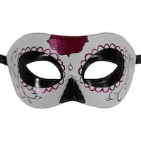 Day of the Dead Black & White Sugar Skull Mask with Purple
