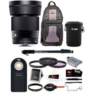 Sigma 30mm f/1.4 DC DN Contemporary Prime Lens for Sony E-Mount with Bundle - Black|https://ak1.ostkcdn.com/images/products/is/images/direct/331eb64b7ce51524548306ed048a0801031e57e9/Sigma-30mm-f-1.4-DC-DN-Contemporary-Prime-Lens-for-Sony-E-Mount-with-Bundle.jpg?impolicy=medium