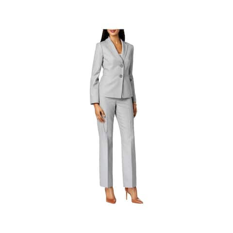Le Suit Womens Petites Pant Suit Office Wear Striped