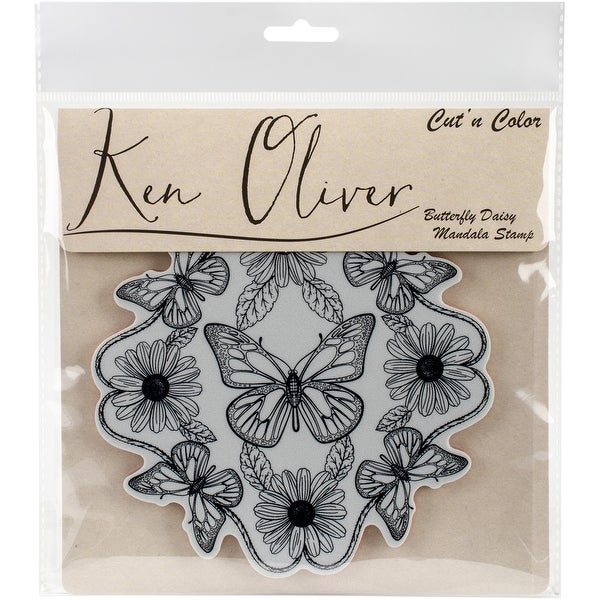Ken Oliver Cut 'n Color Cling Stamp-Butterfly Daisy Mandala