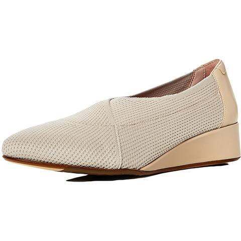 Taryn Rose Womens Celeste Wedge Heels Leather Trim Slip On