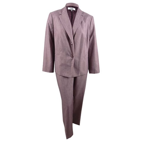Le Suit Women's Plus Size Two-Button Pantsuit (22W, Light Concord) - Light Concord - 22W