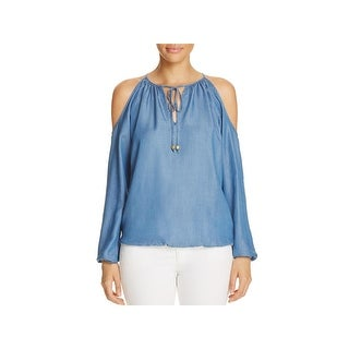 MICHAEL Michael Kors Womens Casual Top Cold Shoulder Tie Neck