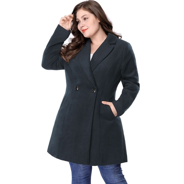 638b4914ba6 Women  x27 s Plus Size Long Sleeve Double-breasted Notched Lapel Coat