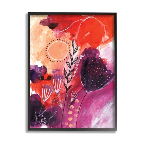 Stupell Industries Whimsical Florals Blooming Orange Pink Purple Framed Wall Art