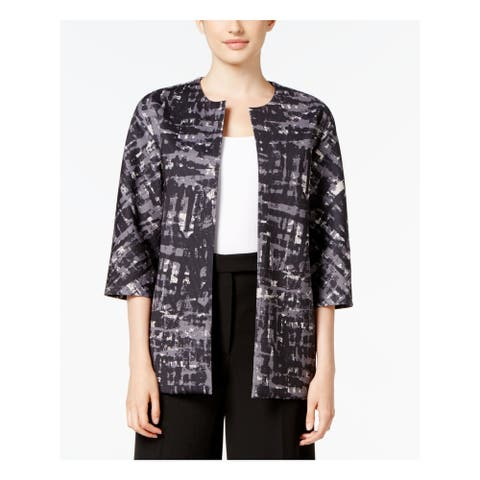 ANNE KLEIN Womens Gray Printed 3/4 Sleeve Open Cardigan Top Size 8