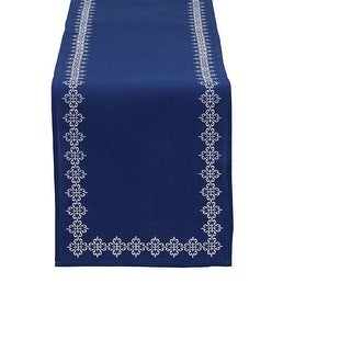 "Decorative Cobalt Blue Mosaic Tile Embroidered Table Runner 14"" x 70"""
