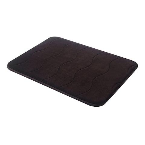 """Black Wave Stitched Velvet Memory Foam Bath Runner 24""""x60"""" Fast Drying Non Slip"""
