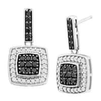 1/2 ct Black & White Diamond Drop Earrings in 14K White Gold