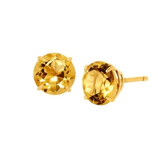 1 3/8 ct Natural Citrine Round-Cut Stud Earrings in 10K Gold - Yellow