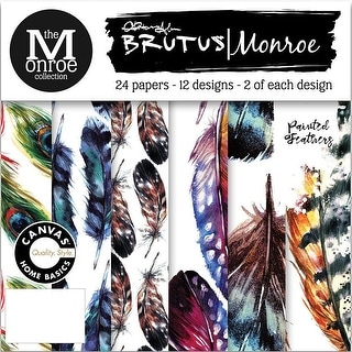 """Brutus Monroe Single-Sided Paper Pad 6""""X6"""" 24/Pkg-Painted Feathers"""