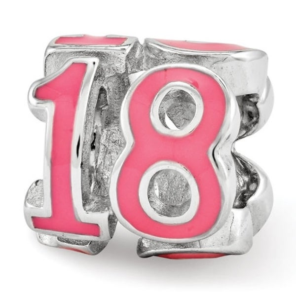 Sterling Silver Reflections Pink Enameled 18 Bead (4mm Diameter Hole)