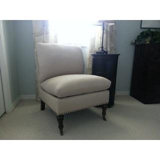 Abbyson Monica Pedersen Beige Linen Slipper Chair by