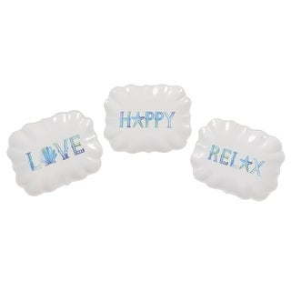 Love Happy Relax Scalloped Edge Tidbit Serving Dish Set of 3