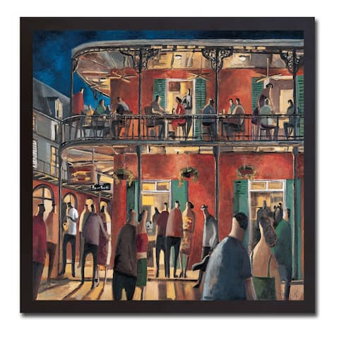 New Orleans Street by Didier Lourenco Black Floater-Framed Canvas Giclee Art (26 in x 26 in Framed Size)