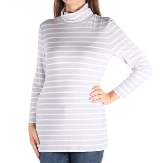 Womens Gray Striped 3/4 Sleeve Turtle Neck Casual Top Size XS