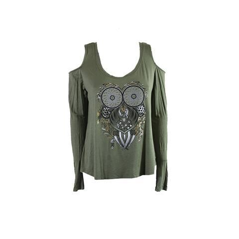 Belle Du Jour Juniors Olive Graphic Clover Cold-Shoulder T-Shirt XS