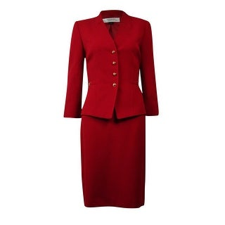 Tahari Women's Crepe Slit Collarless Skirt Suit - Red