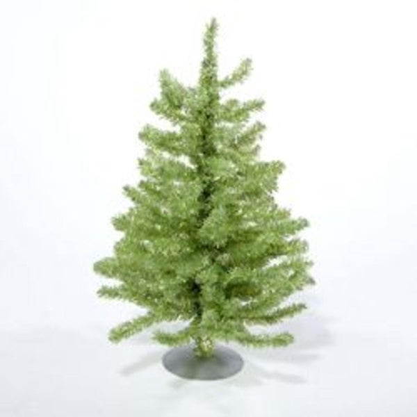 """18"""" Sparkling Kiwi Green and Silver Retro Tinsel Table Top Christmas Tree - Unlit"""