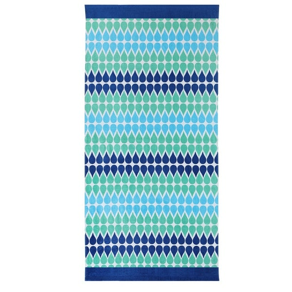 ClaireBella Drops Moonlight Bamboo Design Cotton Beach Towel, Green-Blue, 36x72 Inches - Blue/Green