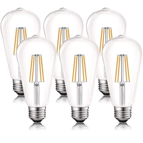 Luxrite Vintage LED Edison Bulb 60W Equivalent, ST19 ST58, 2700K Warm White, 550 Lumens, Dimmable, E26 Base (6 Pack)