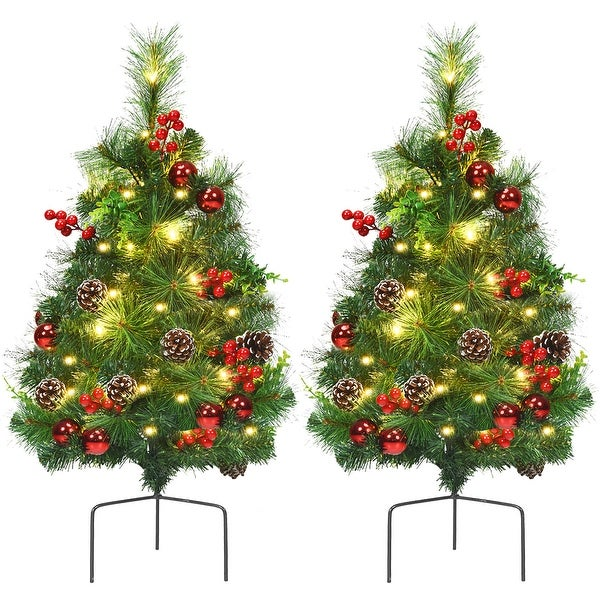 Costway Set of 2 24in Battery Powered Pre-lit Pathway Christmas Trees - 24 Inch. Opens flyout.
