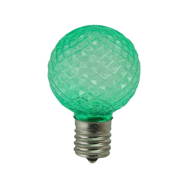 Pack of 25 Faceted LED G40 Green Christmas Replacement Bulbs