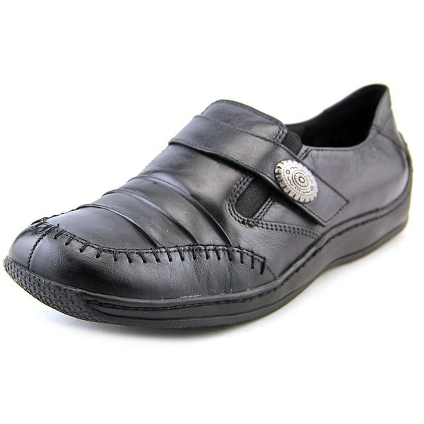 Walking Cradles Bistro Women Round Toe Leather Black Loafer