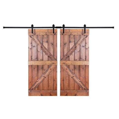 Paneled Wood Painted Double Barn Door DK Series (Set of 2)
