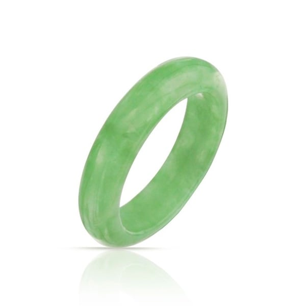 Bling Jewelry Dyed Green Jade Band Gemstone Modern Stackable Ring 5mm