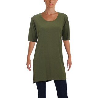 Eileen Fisher Womens Petites Tunic Top Scoop Neckline Casual