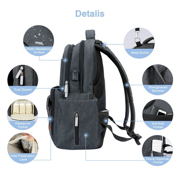 Baby Diaper Bag Backpack Large Multi-Function Diaper Back Pack with Changing –