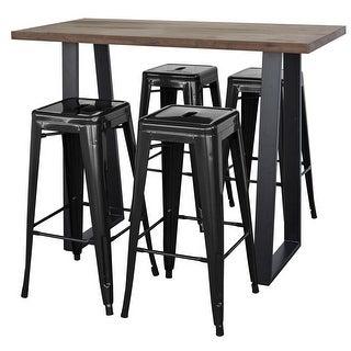 AmeriHome Acacia Wood Top Bar Height Pub Set with 4 Bar Stools