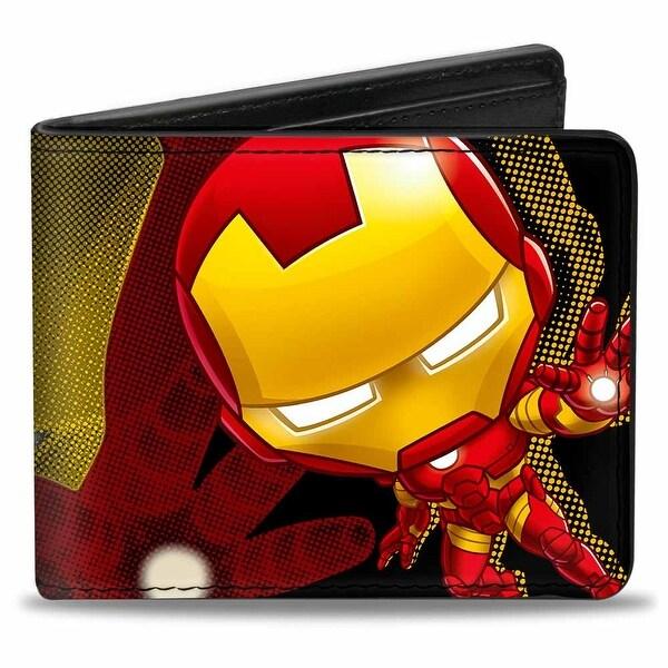 Marvel Avengers Chibi Iron Man Repulsor Pose Halftone Black Red Yellow Bi Bi-Fold Wallet - One Size Fits most