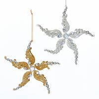 Silver and Gold Glitter Ornate Snowflakes Christmas Holiday Ornaments  Set of 2
