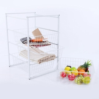 VECELO 4-Tier Storage Cart with 4 Removable Baskets Kitchen Laundry Organizer/ Bathroom Utility Shelf