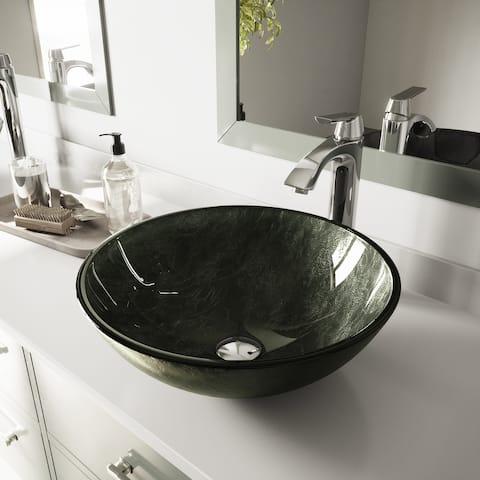 VIGO Grey Onyx Glass Vessel Bathroom Sink and Linus Faucet Set