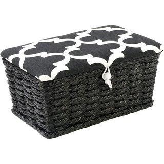 "Sewing Basket Rectangle -7.5""X4.5""X3.25"" Black & White Lid"